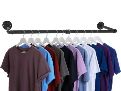 Industrial Pipe Clothes Rack, Heavy Duty Wall Mounted