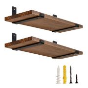 Set of 2 Redware Wood Floating Shelf