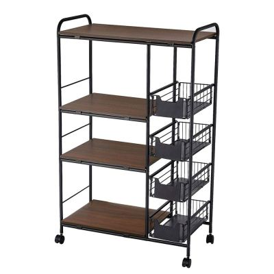 Storage Stand with 4 Slide-Out Mesh Baskets Wheel Trolley