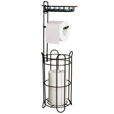 FORUP Freestanding Metal Toilet Paper Roll Holder Stand and Dispenser