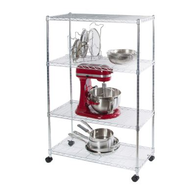 Seville Classics 4-Tier Steel Wire Shelving with Wheels