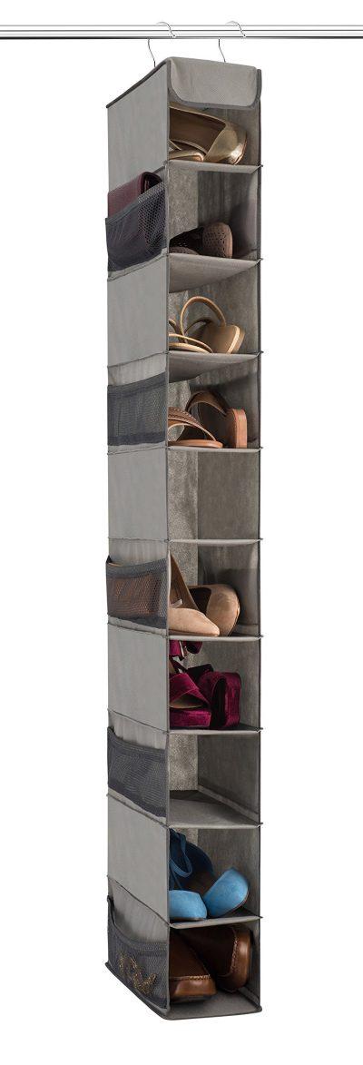 Zober 10-Shelf Hanging Shoe Organizer, Shoe Holder for Closet