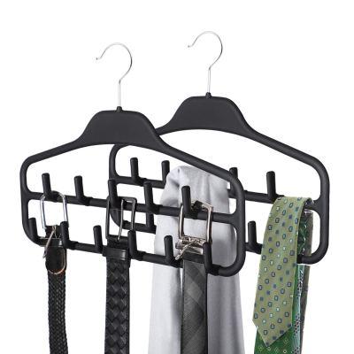 SMARTAKE 2 Pack Belt Hanger, 360 Degree Rotating Tie Rack with Hooks