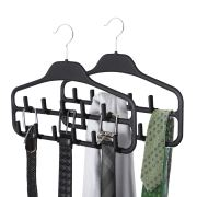 SMARTAKE 2 Pack Belt Hanger, 360 Degree Rotating Tie Rack with Hooks