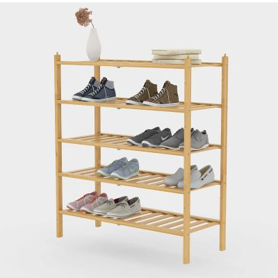 BAMFOX 5-Tier Shoe Rack,Bamboo Stackable Shoe