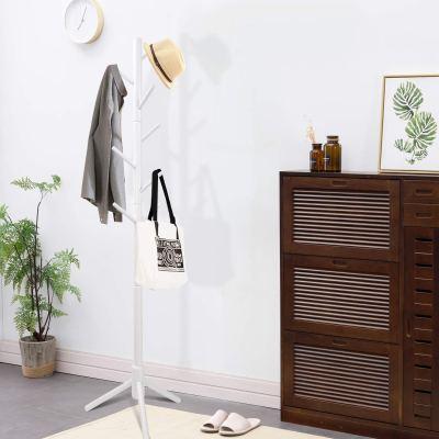 Clewiltess Wooden Tree Coat Rack Stand