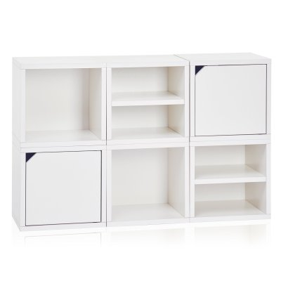 Way Basics ​6 ​Modular 3​-​in​-​1 Shelf Connect Cube Storage System