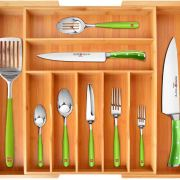 Utensil Holder and Cutlery Tray with Grooved Drawer Dividers