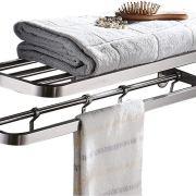 Shelf Double Towel Bar Holder with Hooks Wall Mounted