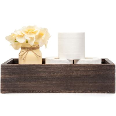 Mkono Bathroom Decor Box Toilet Paper Holder Wood Tank Box Storage Basket