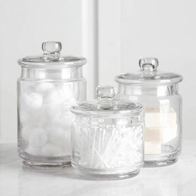 Clear Glass Apothecary Jars-Cotton Jar-Bathroom Storage