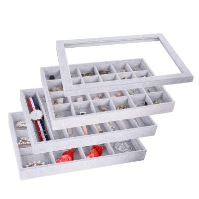 AUTOARK Ice Velvet Stackable Jewelry Tray Showcase