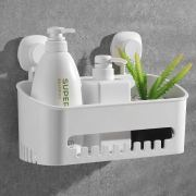 Luxear Shower Caddy Suction Cup, Drill-Free Removable Plastic Shower
