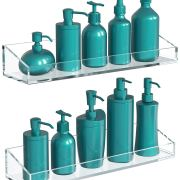 Vdomus Acrylic Bathroom Shelves, Wall Mounted Non Drilling Thick Clear Storage