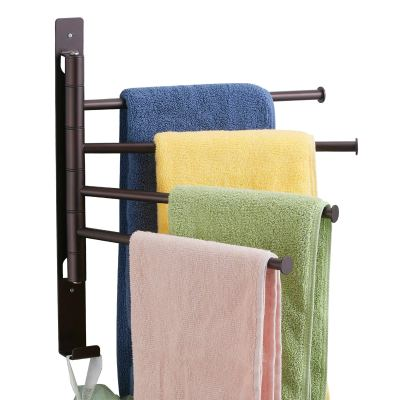 Bronze Mounted Swivel Towel Bar Holder with Hooks