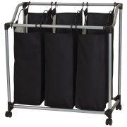 Triple Laundry Sorter on Wheels - Black and Grey