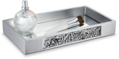 DWELLZA Silver Mosaic Vanity Mirror Tray for Dresser