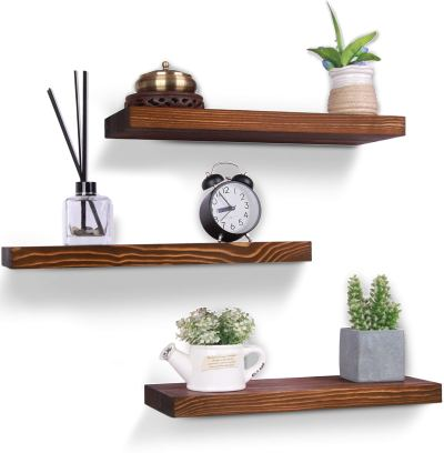 HXSWY Rustic Wood Floating Shelves Farmhouse Wooden Wall Shelves