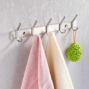 KES Bathroom Towel Rail Rack with 5 Scroll Hooks Wall Mount