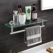 "KES Glass Shelf 16"" Tempered Glass Floating Shelf Wall Mount"