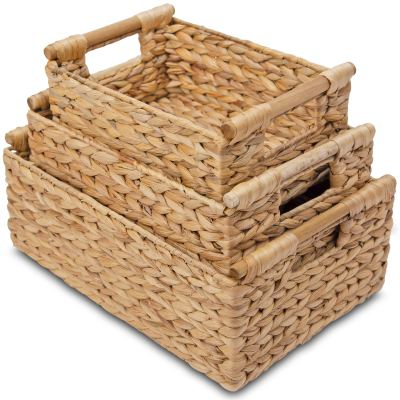 Water Hyacinth Storage Baskets Rectangular with Wooden Handles