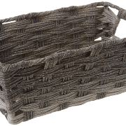 Whitmor Split Rattique Small Shelf Tote-Gray Wash