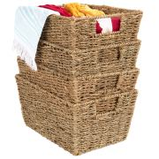 Best Choice Products Rustic Set Of 4, Multipurpose Stackable Seagrass