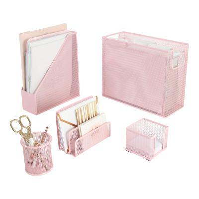 Blu Monaco 5 Piece Pink Office Supplies Desk Organizer Set