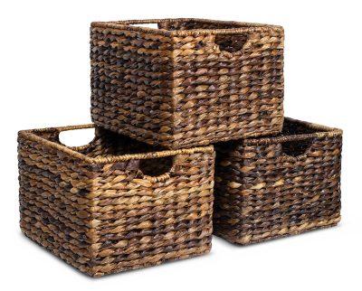 BIRDROCK HOME Woven Storage Shelf Organizer Baskets with Handles