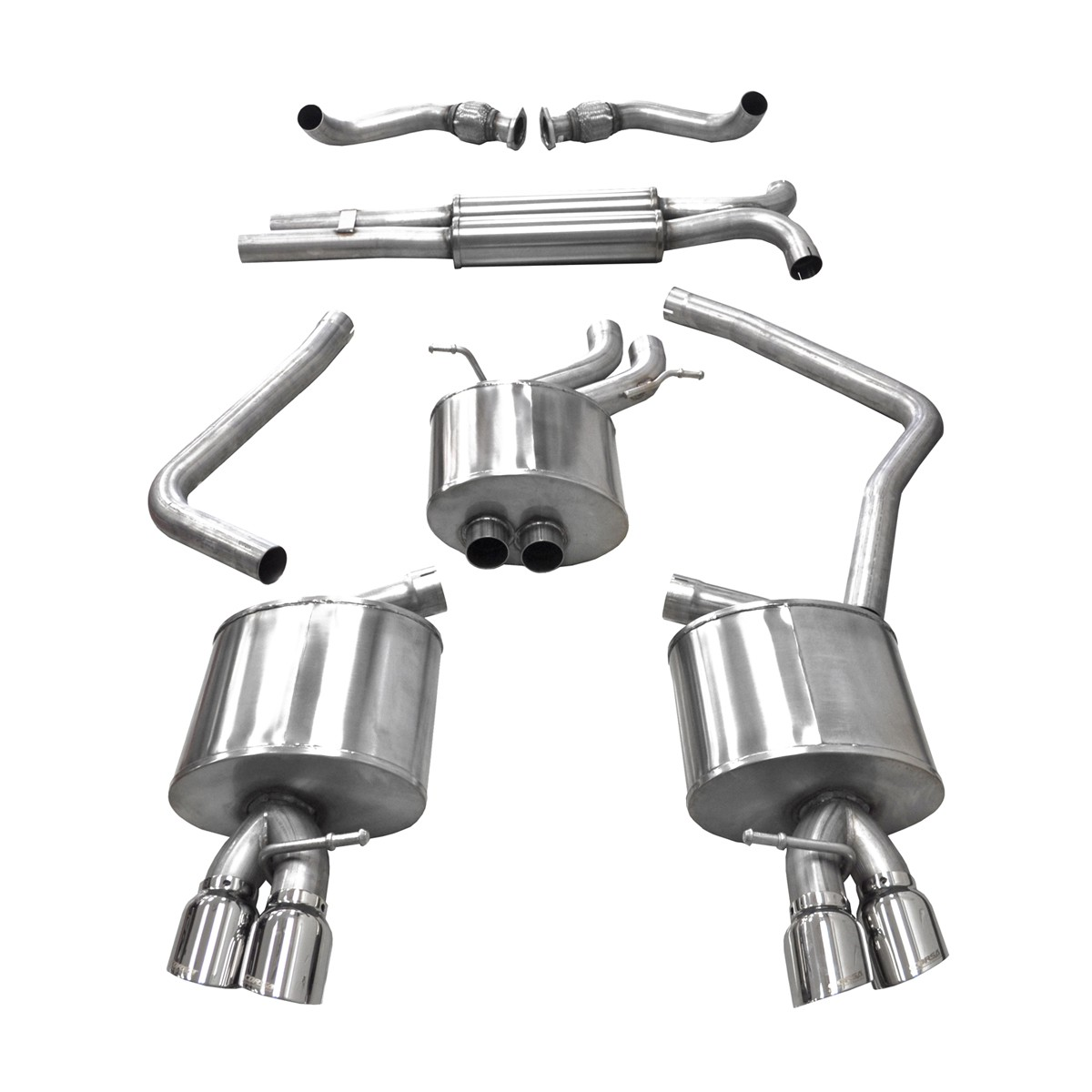 corsa performance b8 audi s4 s5 3 0t cat back exhaust system
