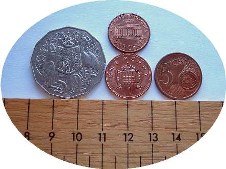 coin size cmpariosn
