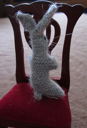 miniature knitted rabbit