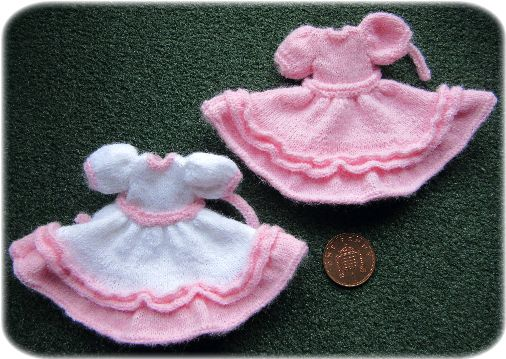 Knitted miniature dresses