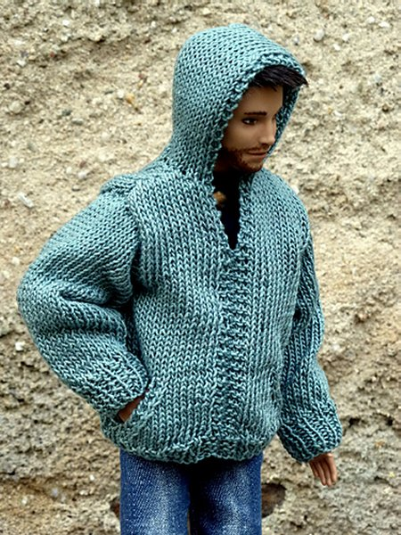 miniature knitted hoodie