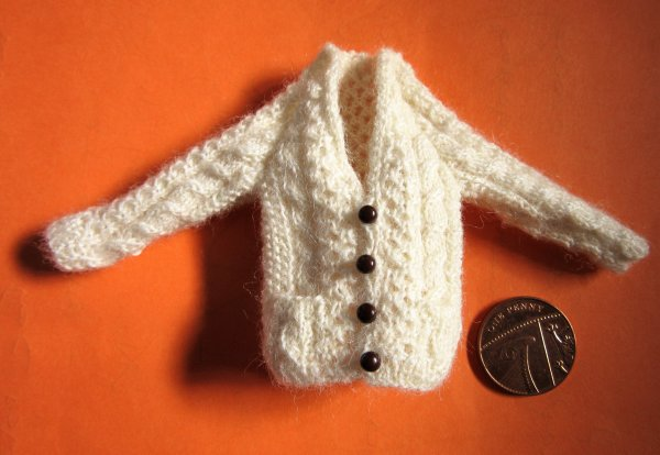 miniature knitted cardigan
