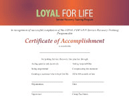 SQI-LOYAL FOR LIFE Certificate