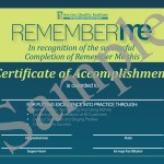 Remember Me Certificate of Accomplishment