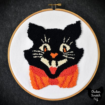 vintage Halloween cat punched in DMC pearl cotton