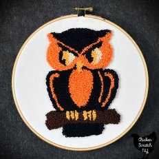 vintage Halloween Owl punched in DMC pearl cotton