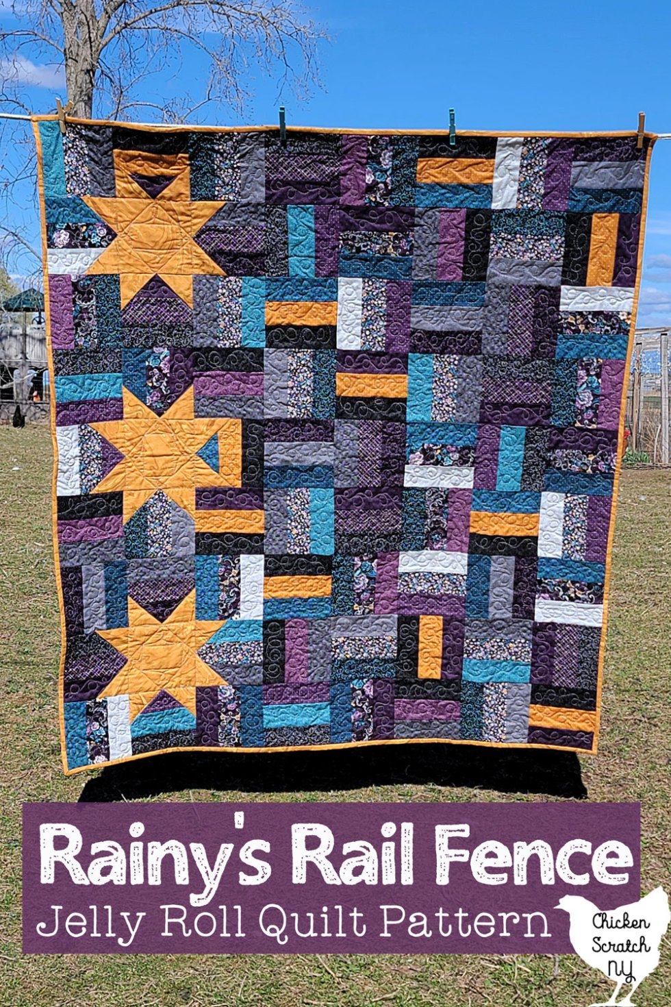 rail fence quilt with stars hanging on a clothes line
