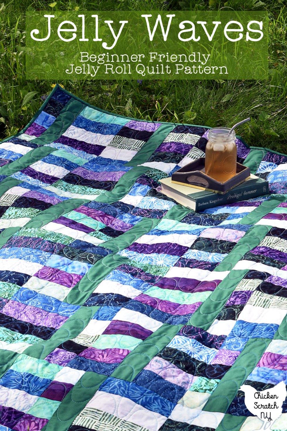 jelly waves quilt pattern sewn in batik prints
