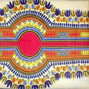 red tribal belt printed lengthwise of yellow fabric