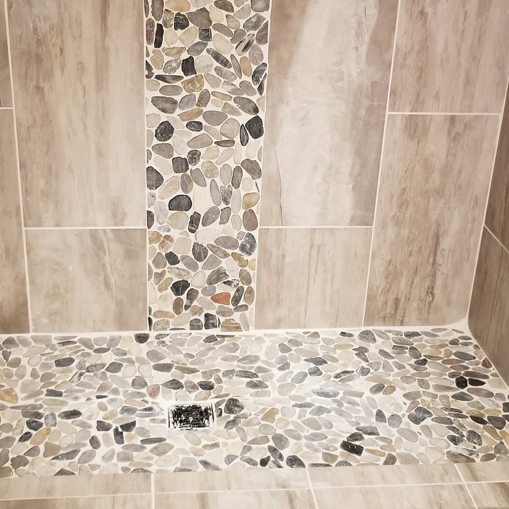 sliced cobblestone pebble tile