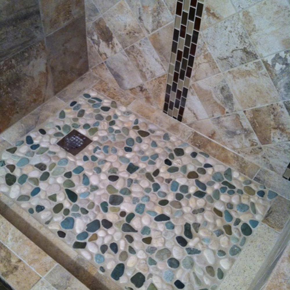 glazed sea green and white pebble tile