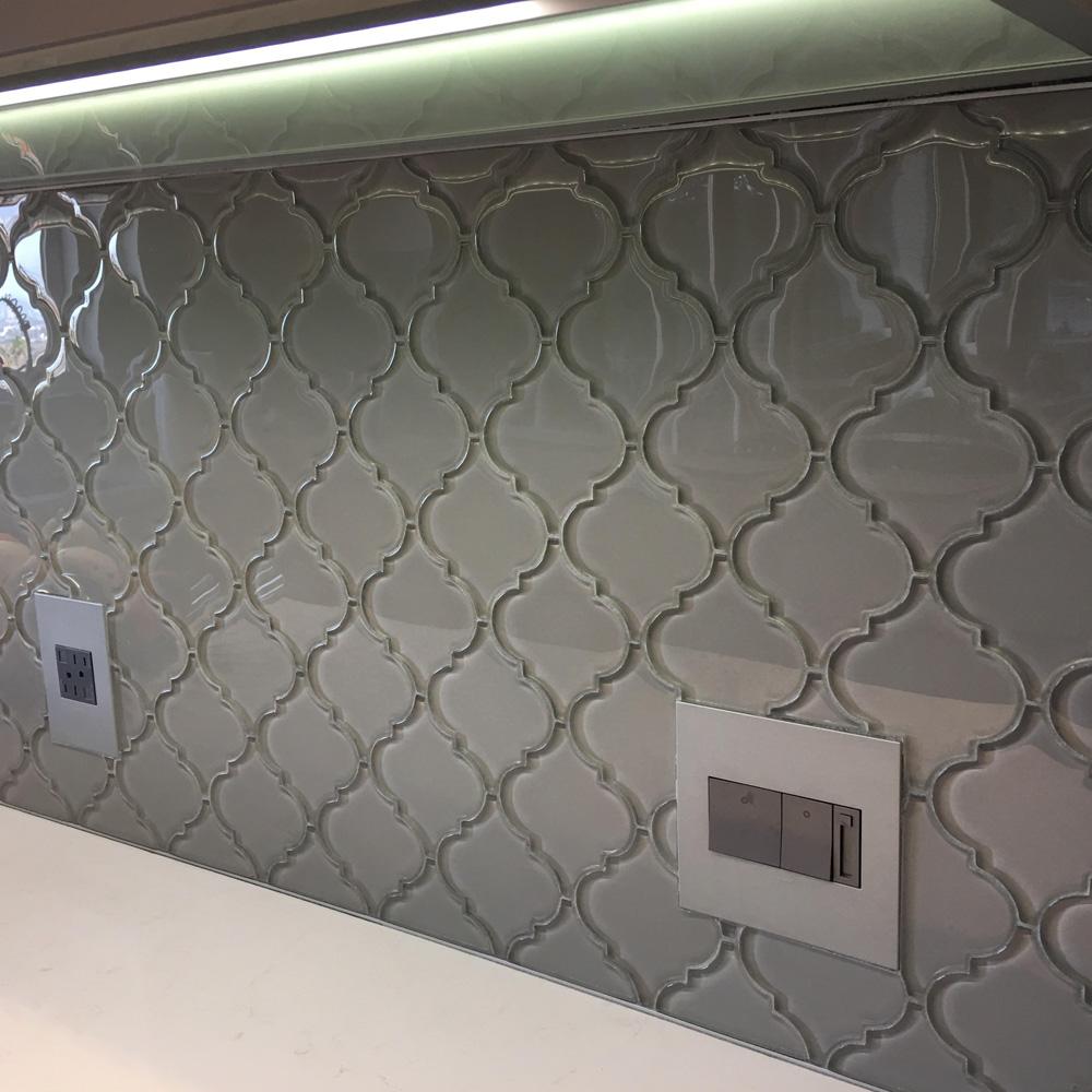 smoke arabesque glass tile