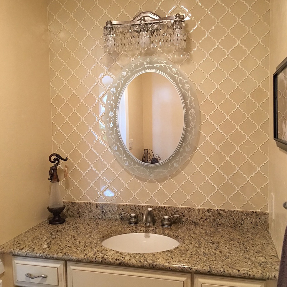 cream arabesque glass tile