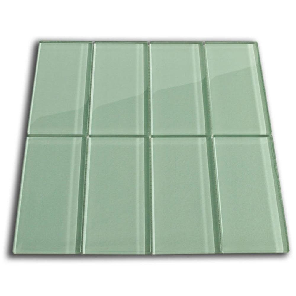 sage green glass subway tile