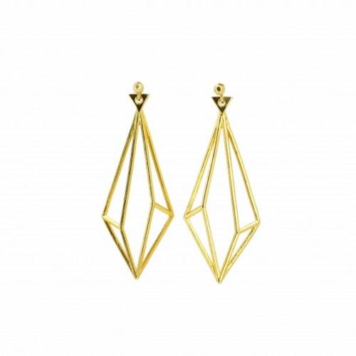 3D Earrings Gold Unikke Design