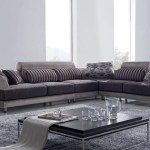 Contemporary Beige Fabric Sectional Sofa Modern Wide