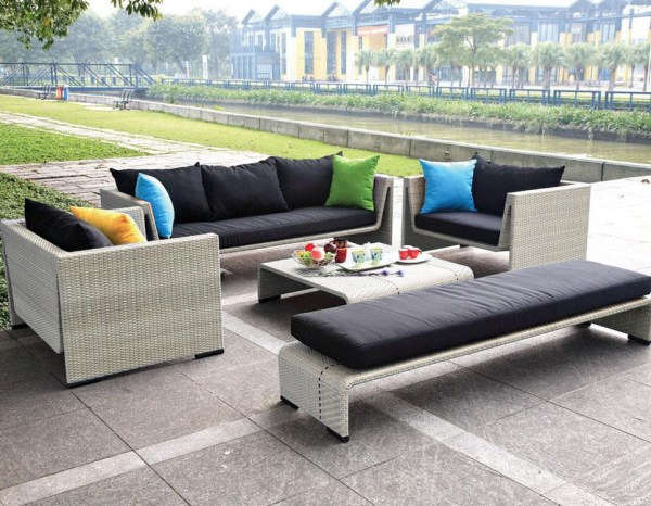 contemporary patio furniture Contemporary Outdoor Patio Seating Beige Wicker Sofa Set